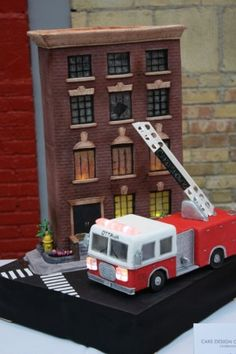Fire Engine & Burning Building Cake | Shared by LION