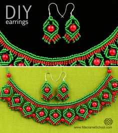 DIY Macrame Earrings with Diamonds and Beads - http://youtu.be/6hC_jjOAyC4