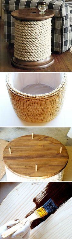 18 Easy DIY Sofa Side Tables You Can Build on a Budget - Check out the tutorial how make a DIY spool sofa side table
