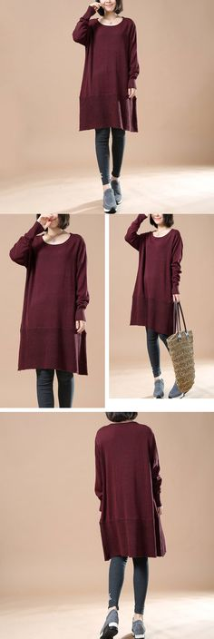 Women Red Wine Autumn Long Sleeve Retro Casual Sweater Dress