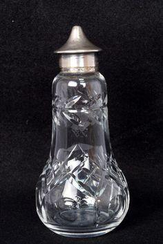 Rare Vintage Unique Heavy Cut Glass Design With Silver Cap Perfume Bottle.G14-35