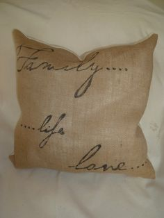Burlap accent one of a kind stencilled pillow by HGdesigninteriors, $42.00