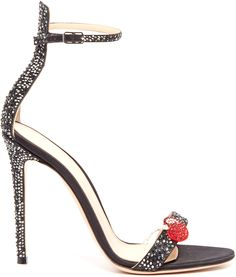 GIANVITO ROSSI Cherry crystal-embellished satin sandals