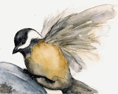 "Chickadee Bird Print from Watercolor Bird Painting ""Soft Landing"", Grey Brown White and Gold"