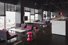 russia 2014 - azimut st. petersburg - 18th. floor - bar - sky bar - carrara marble - wood panel - lounge - sofa - armchair - floorboard - dark - black - holz - holzverkleidung - sessel - lampe - schwarz - grau