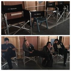 """Adam Rodriguez, AJ Cook, Paget Brewster & Aisha Tyler """"@K_T_Rib : I switched out @pagetpaget's chair with one more appropriate for a star of her stature. #criminalminds #pagetvskrish """""""