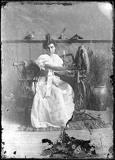 Citation: Girl at spinning wheel, ca. 1879 / unidentified photographer. John Frederick Peto and Peto family papers, Archives of American Art...