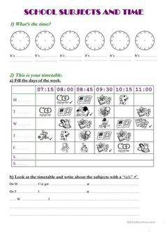 School subjects and time