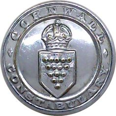 Cornwall Constabulary - Police or Prisons uniform button for sale Buttons For Sale, Merchant Navy, Kings Crown, Commonwealth, Chrome Plating, Cornwall, Police, Empire