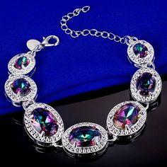 Oval Rainbow Mystic Topaz Silver Plated Bracelet   eBay