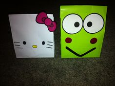 Hello kitty and Keroppi party favor bags.