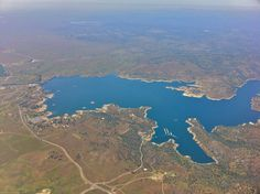Millerton Lake from an airplane at 2,000 feet. You can see the marina at Winchell Cove. The upper right of the lake stretches out of frame up the San Joaquin River.