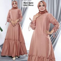 Gambar Maxi Dress Agata Mocca 600x600 Abaya Fashion, Fashion Dresses, Velvet Dress Designs, Satin Formal Dress, Moslem Fashion, Abaya Designs, Muslim Dress, African Print Fashion, Modest Dresses