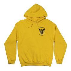 Warning Hoody ($90) ❤ liked on Polyvore featuring tops, hoodies, fleece hoodies, hooded pullover sweatshirt, pullover hoodie, fleece hooded sweatshirt and yellow hooded sweatshirt