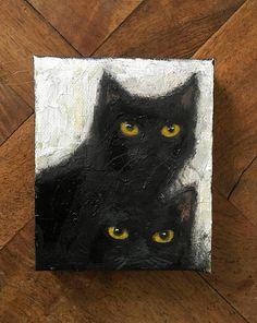 WHAT Peinture abstraite originale chats noirs peinture
