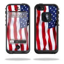 MightySkins Protective Vinyl Skin Decal Cover for LifeProof iPhone 5 / 5S Case fre Case Sticker Skins American Flag