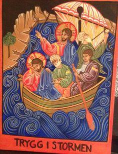 Jesus stiller stormen Religious Art, Folk, Painting, Lds Art, Popular, Painting Art, Fork, Paintings, Paint