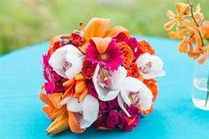 Bright Orange and Pink wedding flowers  pceventplanners.com