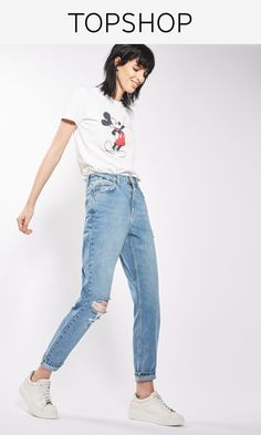Crafted from pure cotton, our MOTO Mom jeans come in authentic rigid-look denim. Cut with a high-waist and a tapered leg, they feature multiple pockets, classic trims and a rip to one knee.