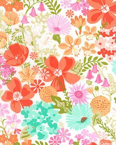 "Honey Honey - Spring Garden Delight - White: Coral, Melon, Apricot, Peach, Aqua, Turquoise, Petal Pink, Raspberry, Peridot, Green Tea, White  Drawn in a whimsical, fresh style, this full garden of vivacious flowers is calling your name. Fill your home and projects with a splash of spring when you add this fabric to your blossoming stash. Larger flowers are about 3 1/4"", from the 'Honey Honey' collection by Kate Spain for Moda Fabrics."