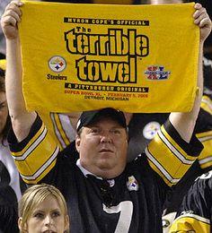 The Terrible Towel Steelers Terrible Towel, Pittsburgh Sports, Steelers Football, Love My Boys, Cleveland Browns, Falcons, Black N Yellow, Cincinnati, Funny Memes