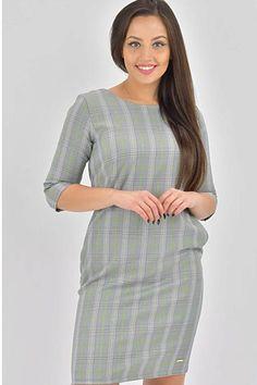 Krásné šaty, které si ihned oblíbíte, ať už je vezmete do práce, do města nebo do kavárny. Pouzdrový, jednoduchý střih, lodičkový výstřih, elegantní tříčtvrteční rukáv, boční kapsy. Zapínání na zip na zadní straně. Materiál 100% polyester. Dresses For Work, Fashion, Moda, Fashion Styles, Fashion Illustrations