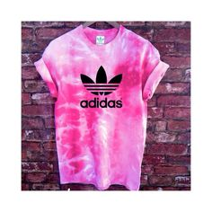 Unisex Authentic Adidas Originals Tie Dye Flamingo Pink Tie Dye... ($46) ❤ liked on Polyvore featuring tops, t-shirts, grey, women's clothing, short sleeve tee, pink tee, tie dye t shirts, tie dye tee and grey tee