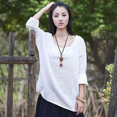Solid White Long sleeve Linen Women Summer style Loose Casual Plus size Shirt Brand Batwing Linen Shirt  Tops