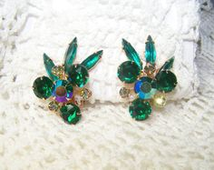 Vintage Emerald Rhinestone Earrings Singed by ConnisCollections, $45.00