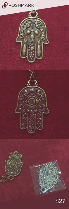 Hamsa pendant necklaces Stunning double-sided Hamsa pendants on long ball chains. Different designs on front and back, with great detail. There are two colors available - brass/gold and silver. The metal on these pendants have a vintage patina to them.   Great for boho hippy look. Jewelry Necklaces