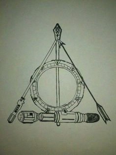 Geeky Deathly Hallows symbol: Gandolf's staff from LotR for the Elder Wand/ Stargate for the Resurrection Stone/ Lightsaber from Star Wars, Arrow from Hunger Games and Sonic Screwdriver from Dr. Who for the Invisibility Clock