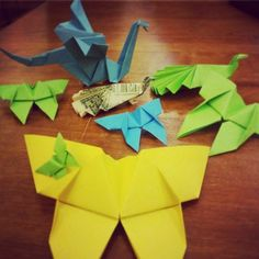 @ricardoayala94 made a dragon and a butterfly. He also made a peacock out of a dollar bill!