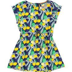1d05a112b61123 Een leuk retro meisjes zomer jurkje met een all over citroenen en blaadjes  print. De