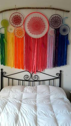 ooak dreamcatchers, dream catcher, home wall decor, boho home decor Dreamcatcher made by hand in very fine mercerized cotton yarn in colors of the rainbow feathers and beads measures 150 cm wide and 134 cm high (the branch is not sent) Home Wall Decor, Diy Home Decor, Mercerized Cotton Yarn, Rainbow Wall, Rainbow Nursery, Boho Home, Crochet Mandala, Boho Decor, Rainbow Colors