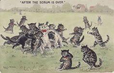 * Cats Postcard by Louis Wain aux Puces de Vanves Paris Crazy Cat Lady, Crazy Cats, I Love Cats, Cool Cats, Louis Wain Cats, Cat Drawing, Beautiful Cats, Paris, Cat Art