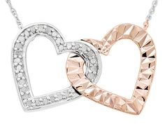 .16ctw Round White Diamond Rhodium And 14k Rose Gold Over Sterling Sil