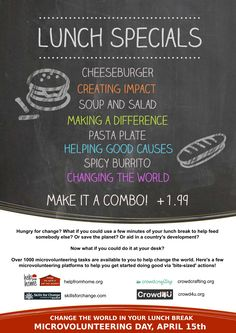 Lunch Specials, Good Cause, How To Make Salad, Save The Planet, Soup And Salad, Change The World, You Can Do, Desk, Projects
