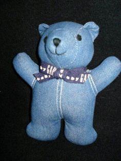GAP BLUE DENIM BABY TEDDY BEAR PLUSH STUFFED TOY