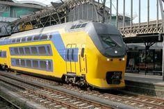 double-decker train from the NS --- The Netherlands Electric Locomotive, Diesel Locomotive, Steam Locomotive, Rail Transport, Public Transport, National Transport, Train Art, By Train, Old Steam Train