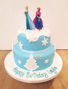 Disney+Frozen+Birthday+Cake,+Elsa+and+Anna,+Frozen+Themed+Novelty+Celebration+Cake+from+The+Cakery+Leamington