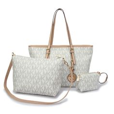 Michael Kors Jet Set Travel Logo Signature Large White Totes Makes You More Beautiful And Elegant, Come Here To Buy One!