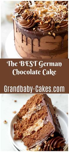 10 Most Misleading Foods That We Imagined Were Being Nutritious! This Classic German Chocolate Cake Recipe Is Made With Layers Of Decadent, Moist Chocolate Cake And Frosted With Rich Buttery Coconut-Pecan Frosting And Indulgent Chocolate Buttercream. Brownie Desserts, Oreo Dessert, Mini Desserts, Chocolate Desserts, Decadent Chocolate Cake, Chocolate Cheesecake, Cupcake Recipes, Baking Recipes, Cupcake Cakes