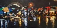 Yangon night in the rain  (2013)  Kyee Myintt Saw  Acrylic on Canvas