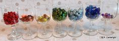 Rainbow beads display in shot glasses by Craft with Ruth Cartwright
