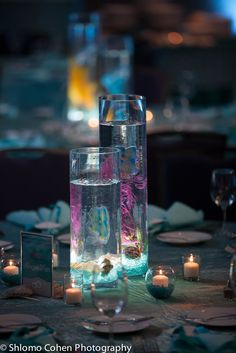 Adult Centerpieces from Rachael's FantaSea under the sea Bat Mitzvah celebration designed by Innovative Party Planners.
