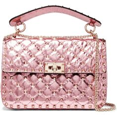Valentino Rockstud Spike medium quilted metallic leather shoulder bag (7.780 BRL) ❤ liked on Polyvore featuring bags, handbags, shoulder bags, net-a-porter, baby pink, quilted leather handbags, leather handbags, genuine leather purse, valentino handbags and quilted leather shoulder bag