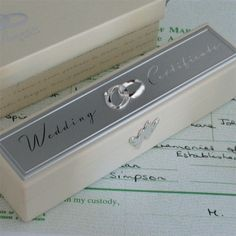 Silver Plated Wedding Marriage Certificate Holder With Stand Bride /& Groom Gift