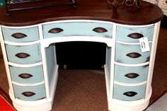 This curvaceous, vintage-cool desk gets an incredible style upgrade from Shabby to Chic Designs with a bit of antiqued paint & effects, & some eye-catching drawer pulls. Refurbished Furniture, Repurposed Furniture, Shabby Chic Furniture, Furniture Makeover, Vintage Furniture, Painted Furniture, Furniture Update, Blue Shabby Chic, Shabby Chic Decor