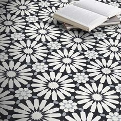 Handmade Alhambra in White, Black, Grey Tile, Pack of 12 (Morocco) - Overstock - 14080642 Grey Tiles, White Tiles, Handmade Tiles, Handmade Shop, Online Tile Store, Tiles Online, Black And White Love, Blue Grey, Encaustic Tile