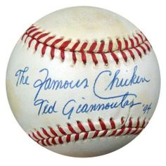 Ted Giannoulas Autographed AL Baseball The Famous Chicken PSA/DNA #Q88090 . $59.00. This is an official American League baseball that has been hand signed by The Famous Chicken, Ted Giannoulas. It has been authenticated by PSA/DNA and comes with their sticker and matching certificate of authenticity.